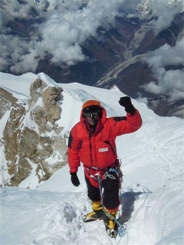 Luca Macchetto on the summit of Manaslu (8163m), archivio L. Macchetto