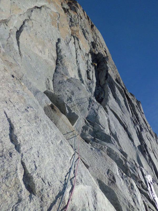 Techno Progressive (260m, VI+, VII+ con un tratto di A1) parete Ovest della Prima Gobba del Monte Folletto, Carè Alto, Adamello), archivio Tameni, Rigosa