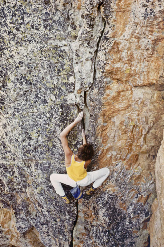 Giovanni Massari climbing at Punta Figari in the '80's, archivio G. Massari