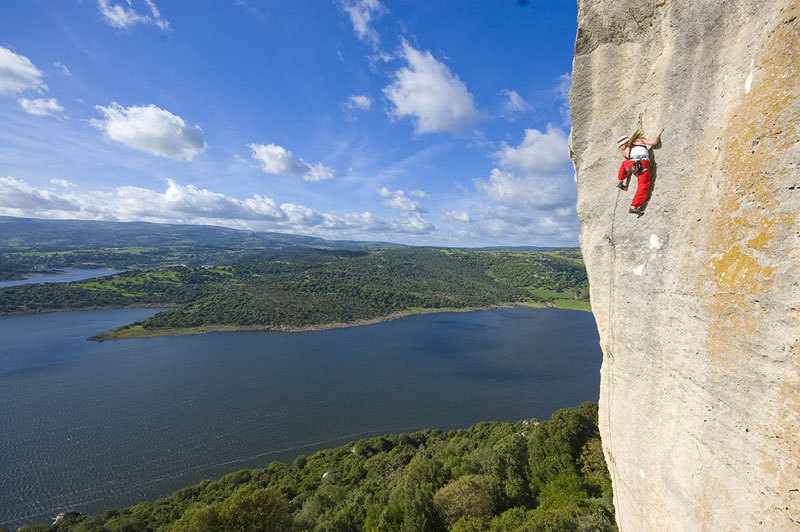 Matina Cufar climbing Philadelphia (7c+) at Roccadoria, Sardinia, Maurizio Oviglia