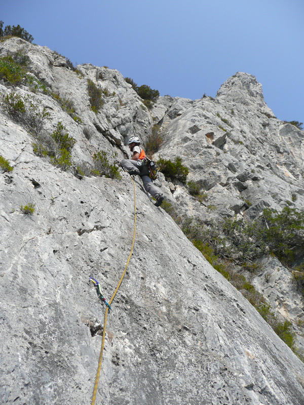 On pitch 2 of Spigolo Bonatti (6a, 240m) at Capo d'Uomo, Argentario, Tuscany, Italy, Eraldo Meraldi