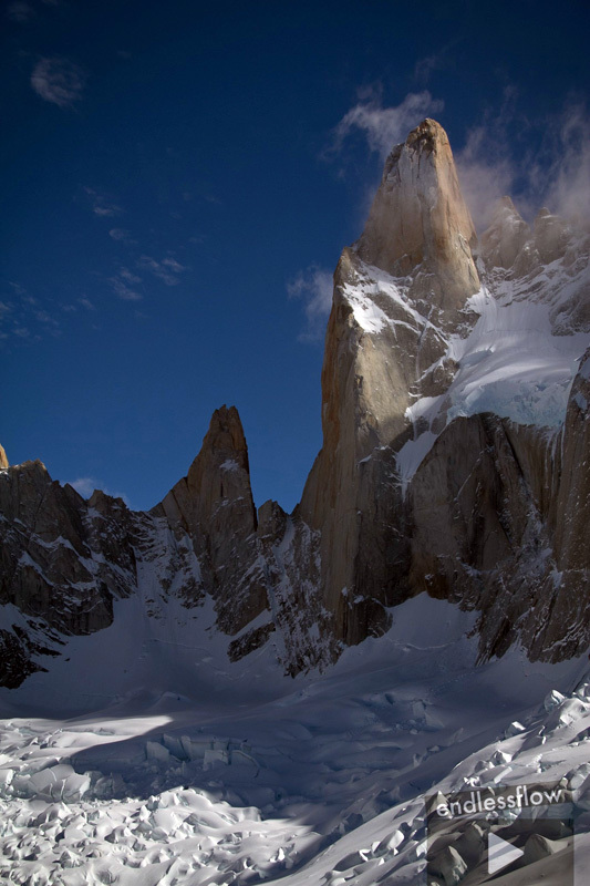 Aguja Poincenot, Patagonia: here one can get a good perspective of the ramp on Poincenot, Bjarne Salén