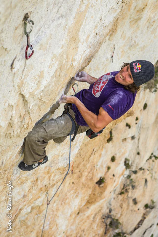 Stefan Glowacz on his route Golden Shower (8b+, 150m) in the Verdon Gorge, France., Klaus Fengler