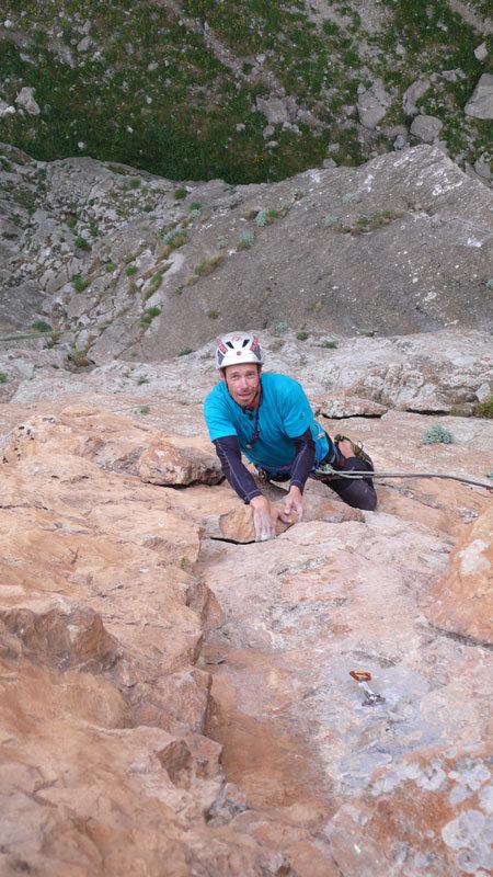 Luca Giupponi climbing Radio Eksen, Cimbar Valley, archivio R. Larcher, L. Giupponi, N. Sartori