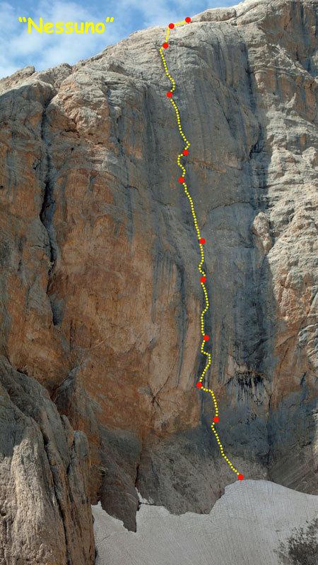 Route line Nessuno, Cima Vay Vay, archivio R. Larcher, L. Giupponi, N. Sartori