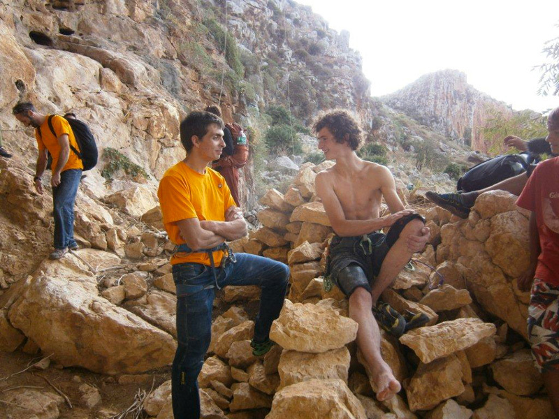 The two first ascentionists: Adam Ondra and Berni Rivadossi, Nicola Noè