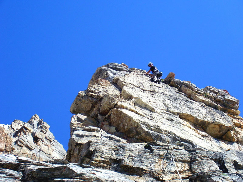 Max su L5 di Up Down, Rocca la Meja, Valle Maira, archivio L. Belliardo