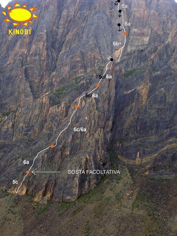 Tracciato di Up Down, Rocca la Meja, Valle Maira, archivio L. Belliardo