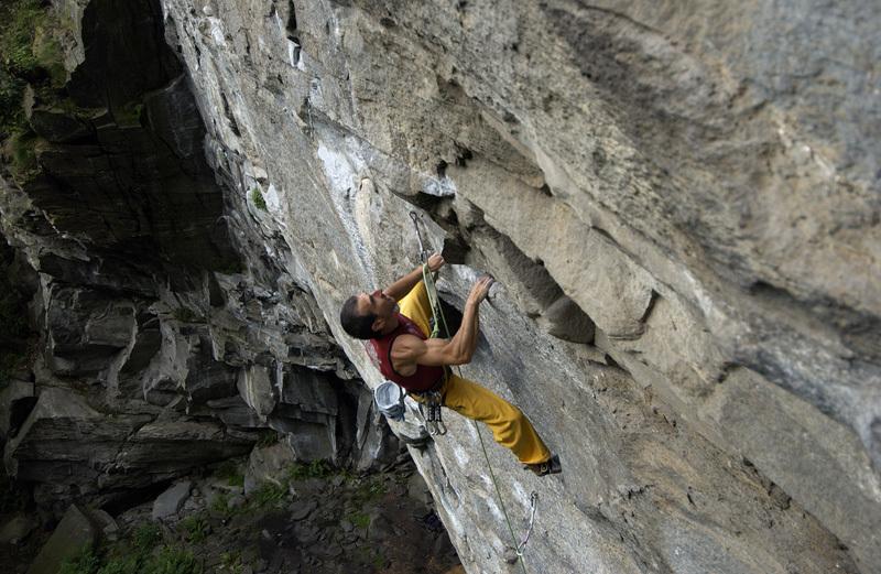 Donato Lella climbing at Rocca Bert, Piemonte, Stefano Beccio