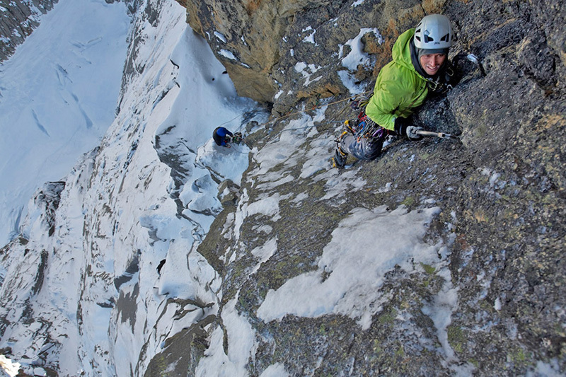 Julien Desecures on the amazing, final pitch of Full Love... for dry and ice (V, 5+,M6 R, 500m)., Jonathan Griffith