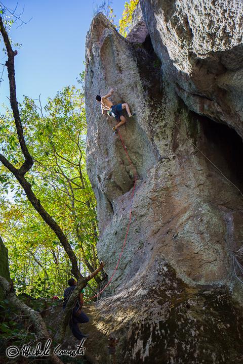 Michele Caminati climbing Alibracciapinne 8b, Amiata, Michele Caminati