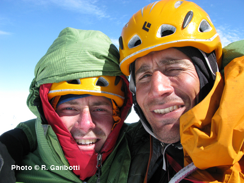 Garibotti and Haley on the top of Cerro Torre, after having completed the first ascent of the Torre Traverse., Rolando Garibotti