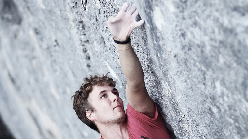 Pirmin Bertle on his route Le lézard communiste (8c/8c+) at the crag Jansegg, Gastlosen, Switzerland., Pirmin Bertle