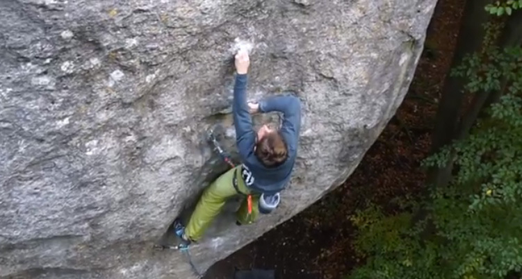 Manuel Brunn making the first repeat of The Elder Statesman (9a), Frankenjura, Germany, archive Manuel Brunn