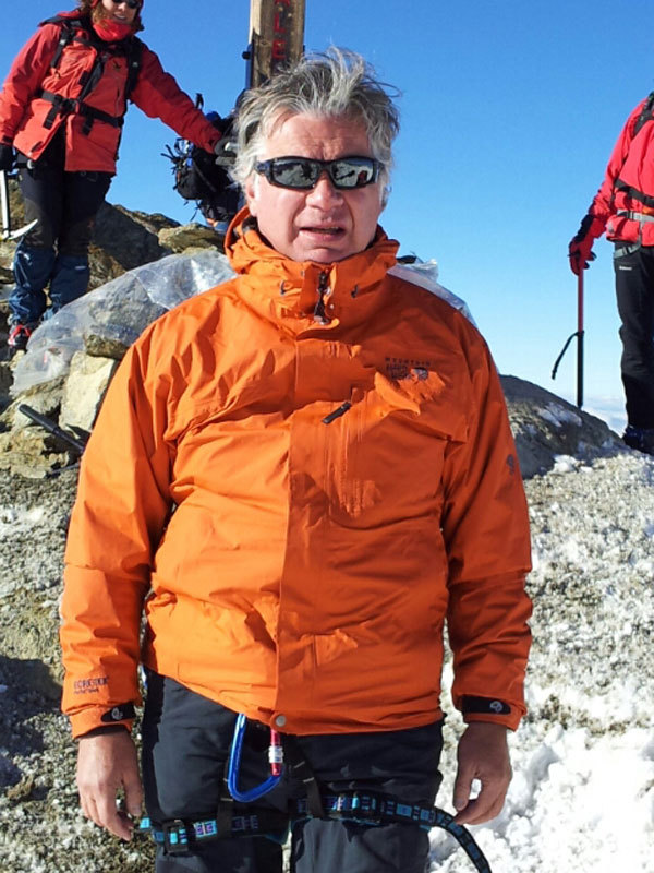 Doctor Luigi Festi - Director of the International Master Course in Mountain Medicine, on Cevedale, the summit reached by all participants., archivio Master Medicina di Montagna