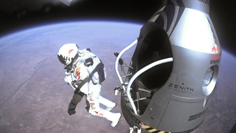 Austrian pilot Felix Baumgartner jumps from the capsule of the Red Bull Stratos during the final manned flight in Roswell, New Mexico, on October 14, 2012., Red Bull Content Pool