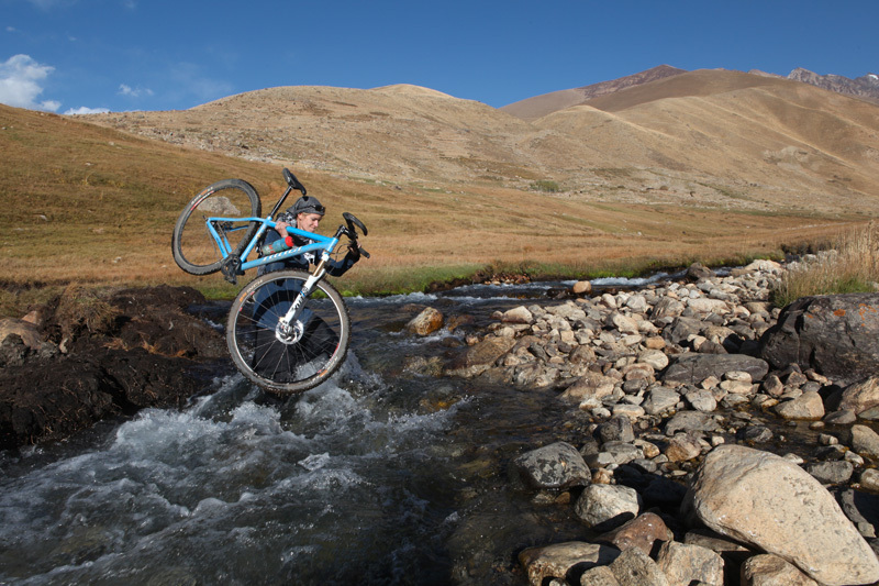 On her 140-mile ride across the Panjshir Valley in October 2010, Galpin crossed this river twice after being forced to turn around before attempting to ride up 14,000-foot Anjuman Pass, which marks the border of Panjshir Province. A sheepherder had warned her that there were gunrunners from a neighboring province in the mountains ahead. The decision to turn around was easily made., Travis Beard