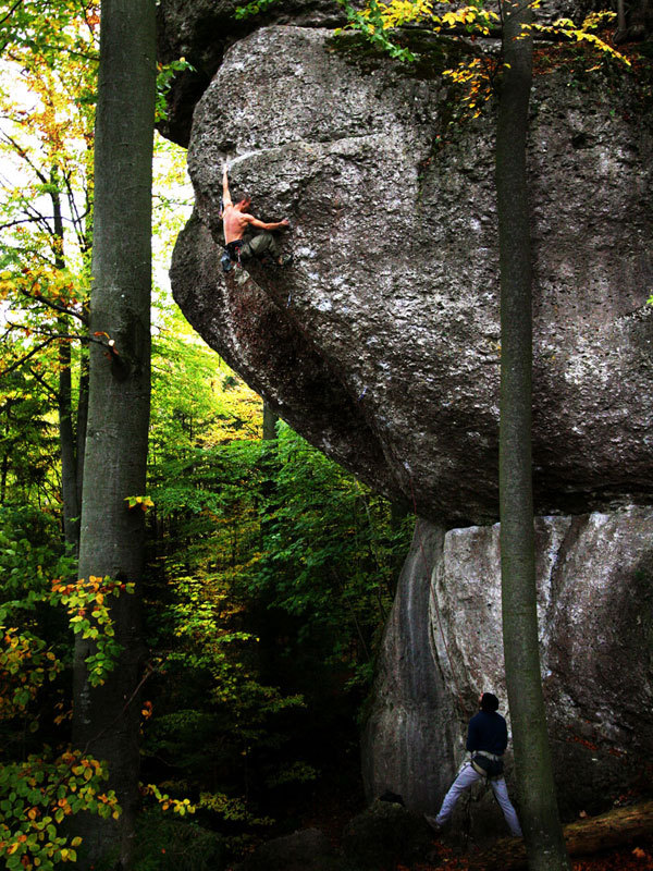 Frankenjura: the beautiful prow with a line, to the right of Action Directe, called Slimline, Massimo Malpezzi