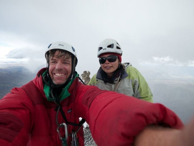 Dave Anderson and Szu-ting Yi on the summit of Kemailong on 1/10/2012, David Anderson