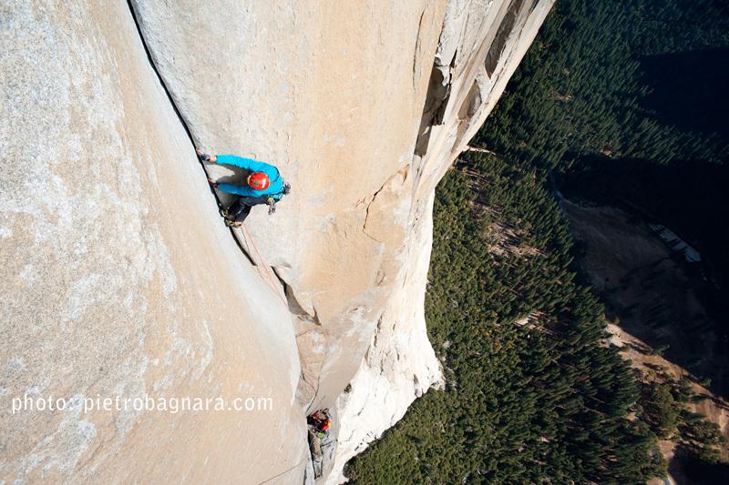 Matteo Della Bordella climbing Freerider, El Capitan, Yosemite, Pietro Bagnara