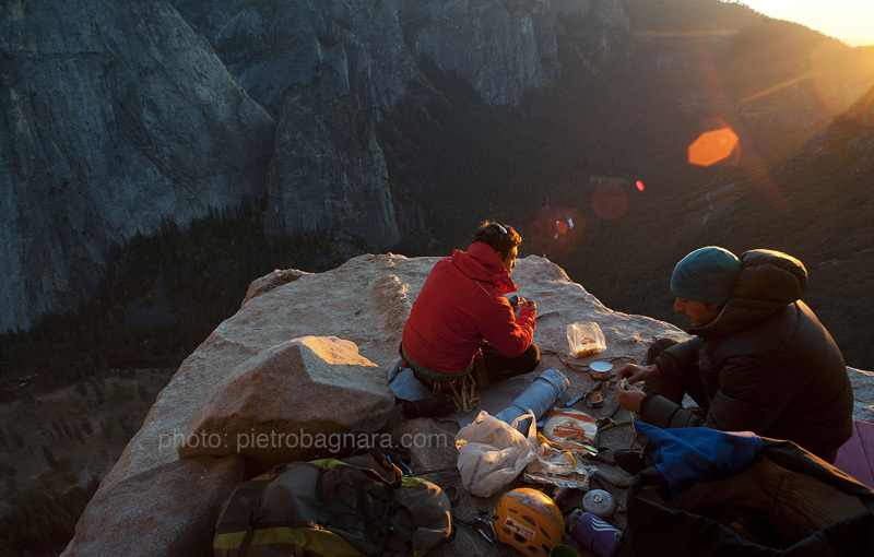 Matteo Della Bordella and David Bacci at the El Cap Spire bivy, El Capitan, Yosemite, Pietro Bagnara
