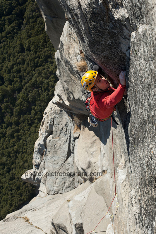 David Bacci climbing Freerider, El Capitan, Yosemite, Pietro Bagnara