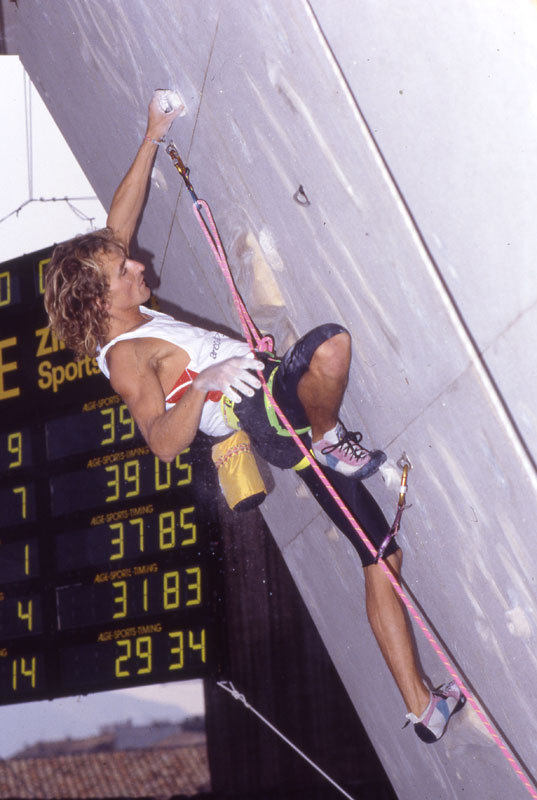 Patrick Edlinger, winner of the 1988 Rock Master 1988 in Arco, Marco Scolaris