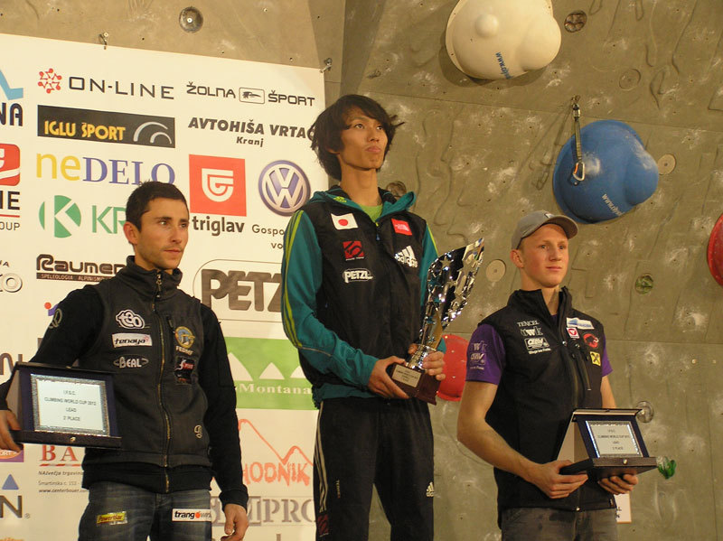 The Lead World Cup 2012 podium. From left to right: Ramon Julian Puigblanque, Sachi Amma, Jakob Schubert, Franz Schiassi