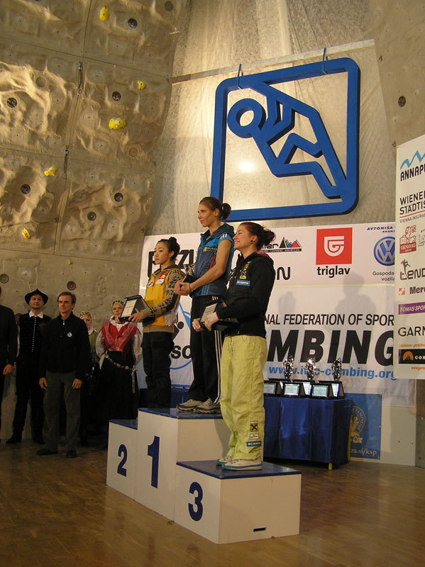 The feamle podium of the Lead World Cup 2012. From left to right: Jain Kim, Mina Markovic, Johanna Ernst , Franz Schiassi