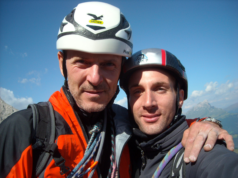 Walter Polidori & Simone Rossin on the summit, archivio Polidori & Rossin