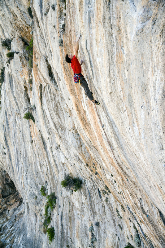 Jacopo Larcher climbing at the new crag bolted for the The North Face Kalymnos Climbing Festival 2012, Christos Boukoros