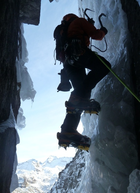 Hochgasser (2922m): Ben Gassa (M5/M6, WI5, 700m, Isidor Poppeller, Vittorio Messini 16/11/2012), archivio Vittorio Messini