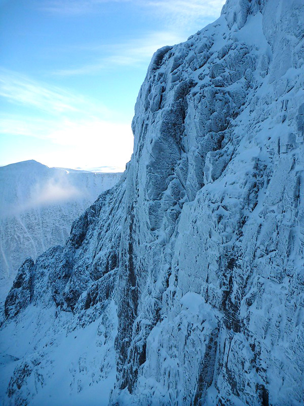 Sioux Wall on Ben Nevis, Scotland. Tomahawk Crack takes the cleaned line up the centre of the face., archive Greg Boswell