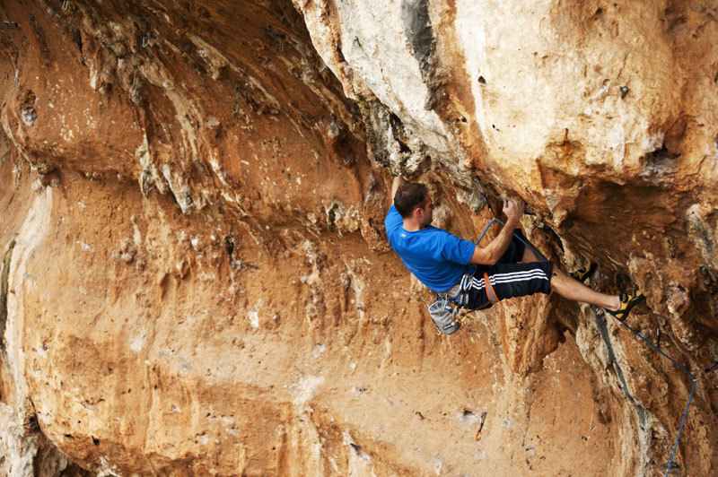 Paolo Spreafico climbing in the Siracusa region, Pietro Bagnara