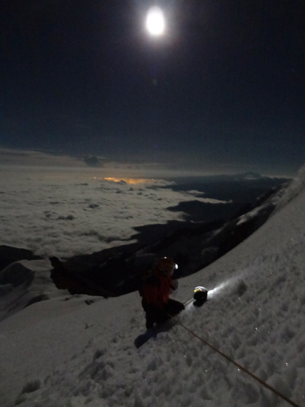 Illimani. Climbing at night., David Orlandi