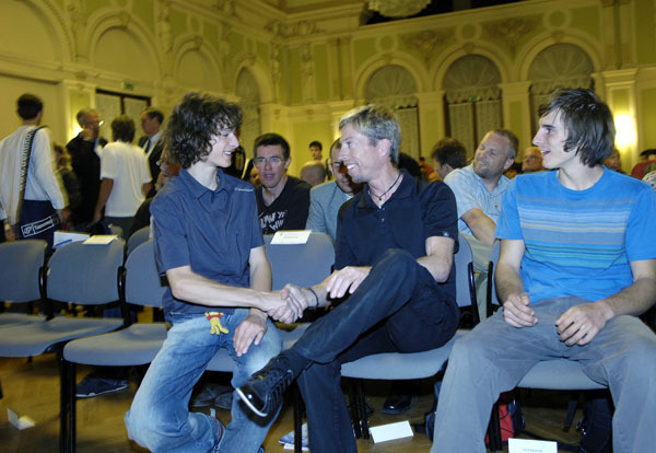 Adam Ondra with Andreas Bindhammer and Daniel Woods at the Arco Rock Legends 2007, Giulio Malfer