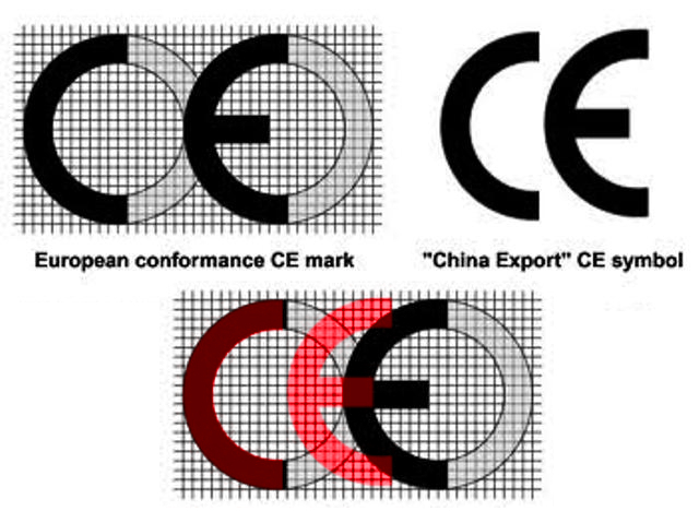 The European Conformity logo on the left and the China Export logo on the right. Note the space between the letters in the European logo, and the reduced space between the letters in the Chinese logo.