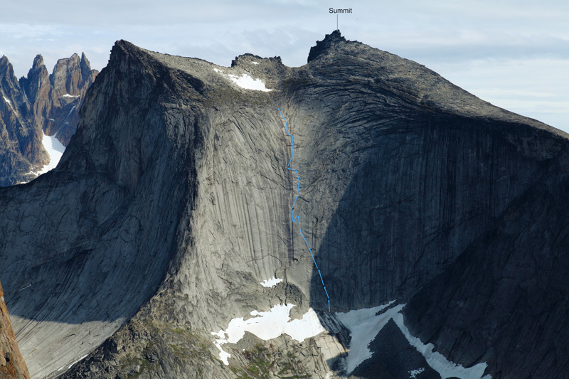 La chute de rein (600m, 6c, A1 pendulum), Torsukatak Fjord, Greenland, Yannick Boissenot