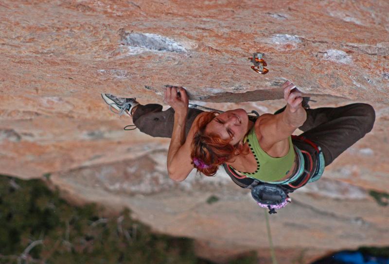 Argyro Papathanasiou climbing El Figot 8b at Siurana, Spain, Maginiro Cabestany