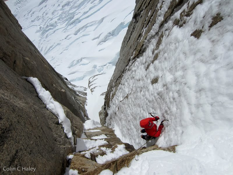12/2012: Colin Haley & Join Walsh climbing Tobogan (600m, AI4, M6), Cerro Standhardt, Patagonia., Colin Haley
