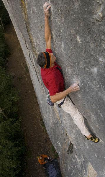 Manolo climbing Bimbaluna at St. Loup, Switzerland., Marco Spataro