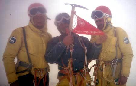 Pino Negri, Casimiro Ferrari, Mario Conti on the summit, archivio Ragni Lecco