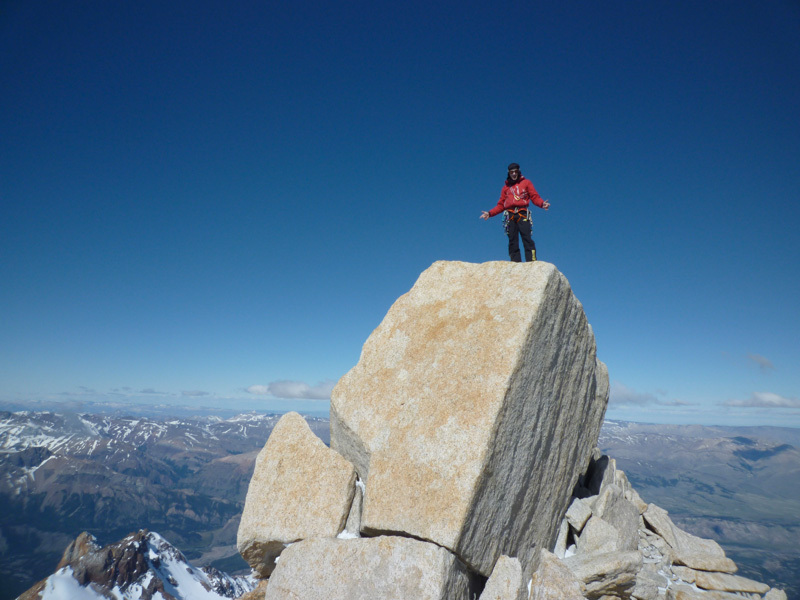 Corrado Pesce on the summit of Aguja Mermoz, Patagonia, Corrado Pesce