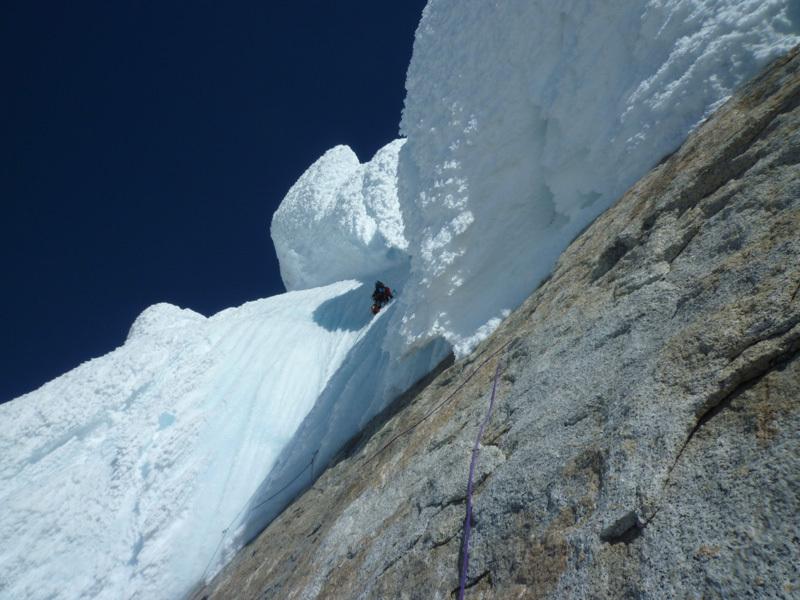 Corrado Pesce ascending Torre Egger, Patagonia, Manu Cordova