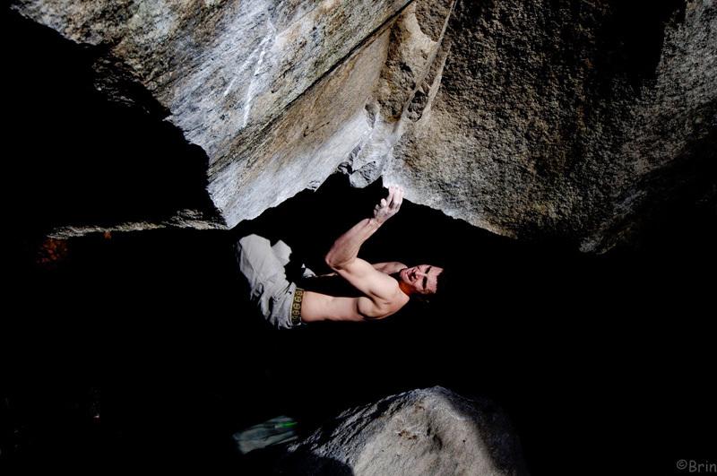 Jernej Kruder bouldering at Cresciano, archive Jernej Kruder
