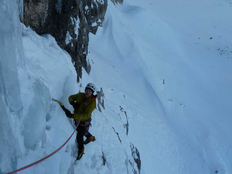 Giorgio Bertagnolli and Cristian Defant making the first repeat of Via Valeria on Crozzon di Brenta in the Dolomites on 12/01/2013 , Cristian Defant