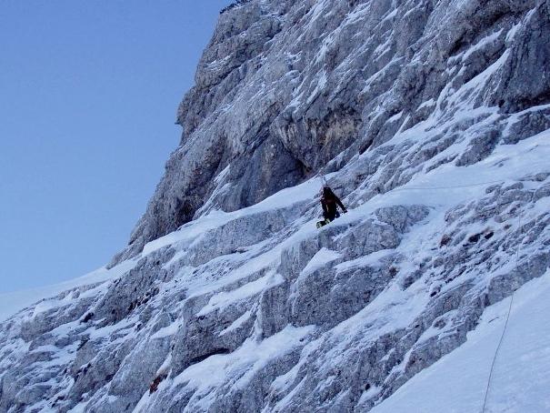 Kiflinu kosu rampu 55°, 300m, Čvrsnica, Herzegovina (Retelj, Laušić, Rivero)., Retelj, Laušić, Rivero
