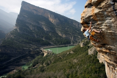 Andreas Bindhammer enjoying the overhangs in Terradets, Spain, Klaus Fengler