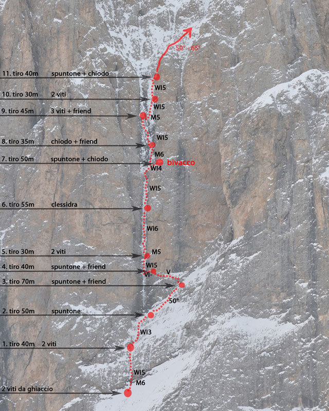 The route topo of La Legrima, the route up the North Face of Sassolungo, Dolomites established by Adam Holzknecht and Hubert Moroder, Werner Dejori