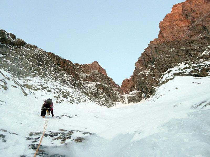 Nel canale del Col des Avalanches, Christian Türk